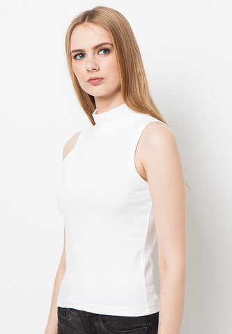 Turtle Neck Tank - White