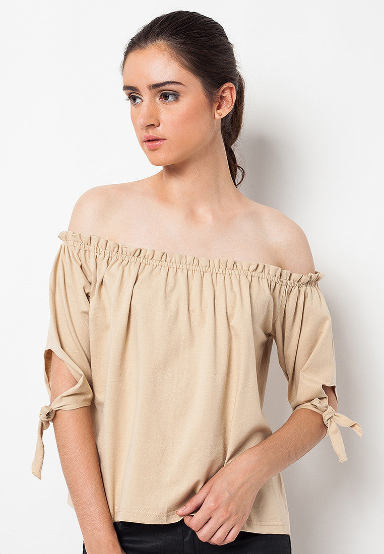 Sabrina Tee with Ribbon Brown