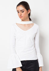 Long Sleeves Frilled Choker Tee White