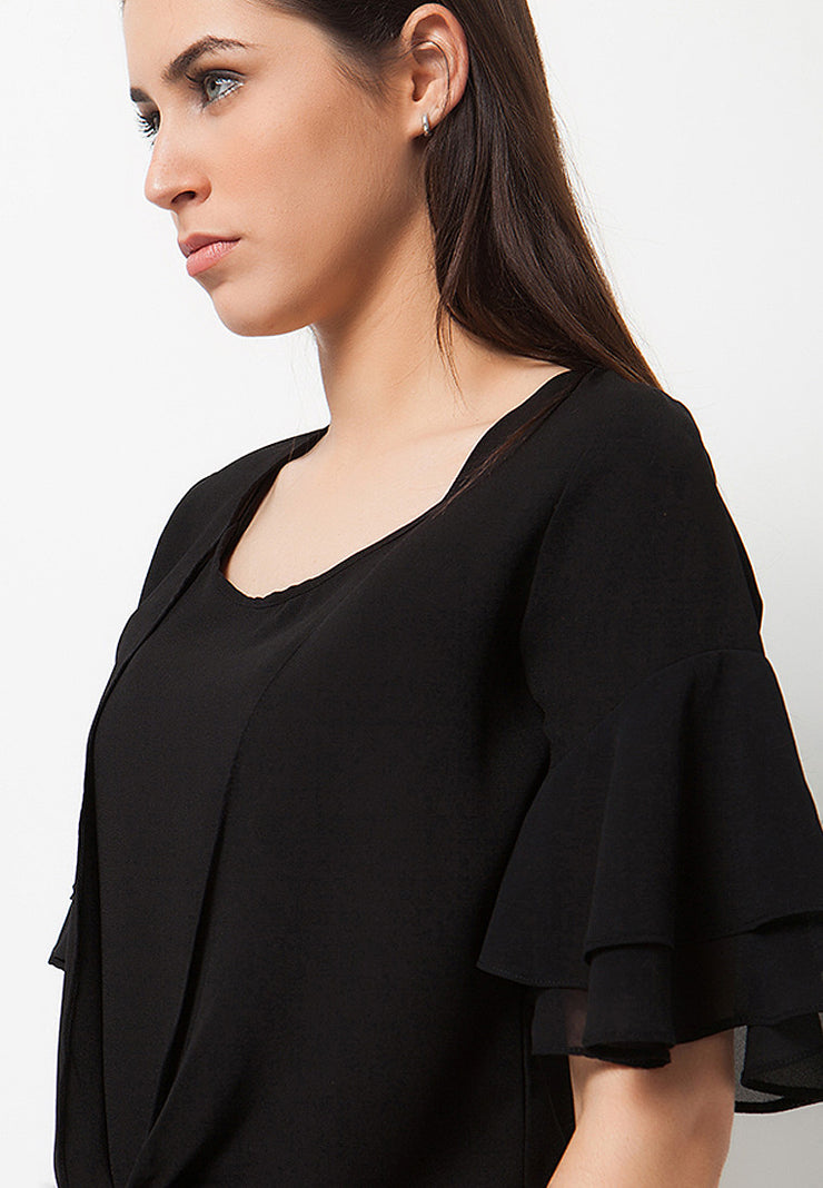 Flared Sleeves Blouse - Black (with inner)