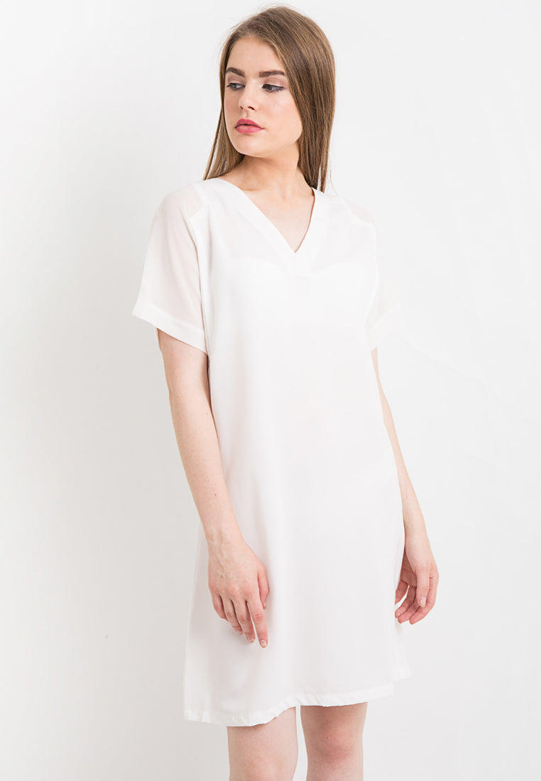 V-Neck Loose Dress - White