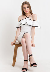 Dress With Lined Frill - White
