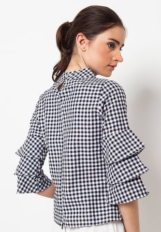 Triple Plaid Bell Sleeve Top