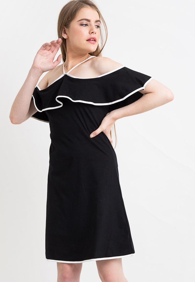 Dress With Lined Frill - Black