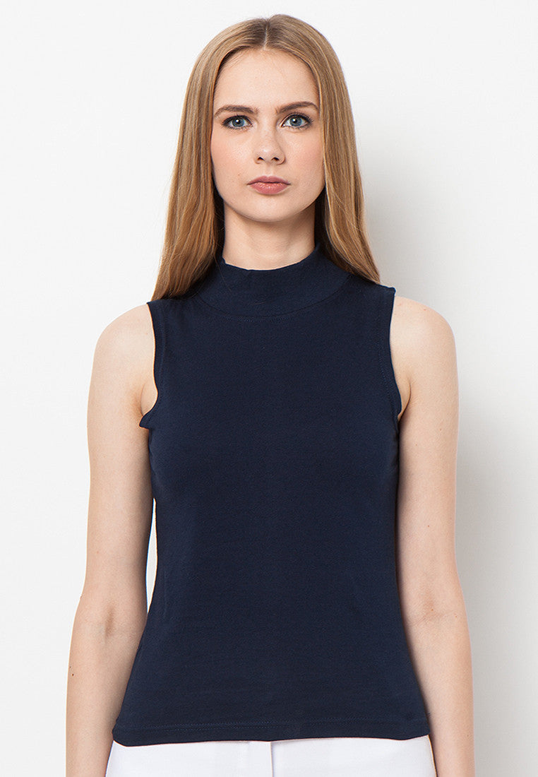 Turtle Neck Tank - Navy