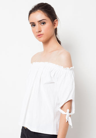 Sabrina Tee with Ribbon White