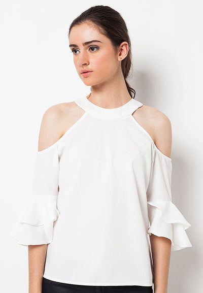 Cold Shoulder with Double Bell White