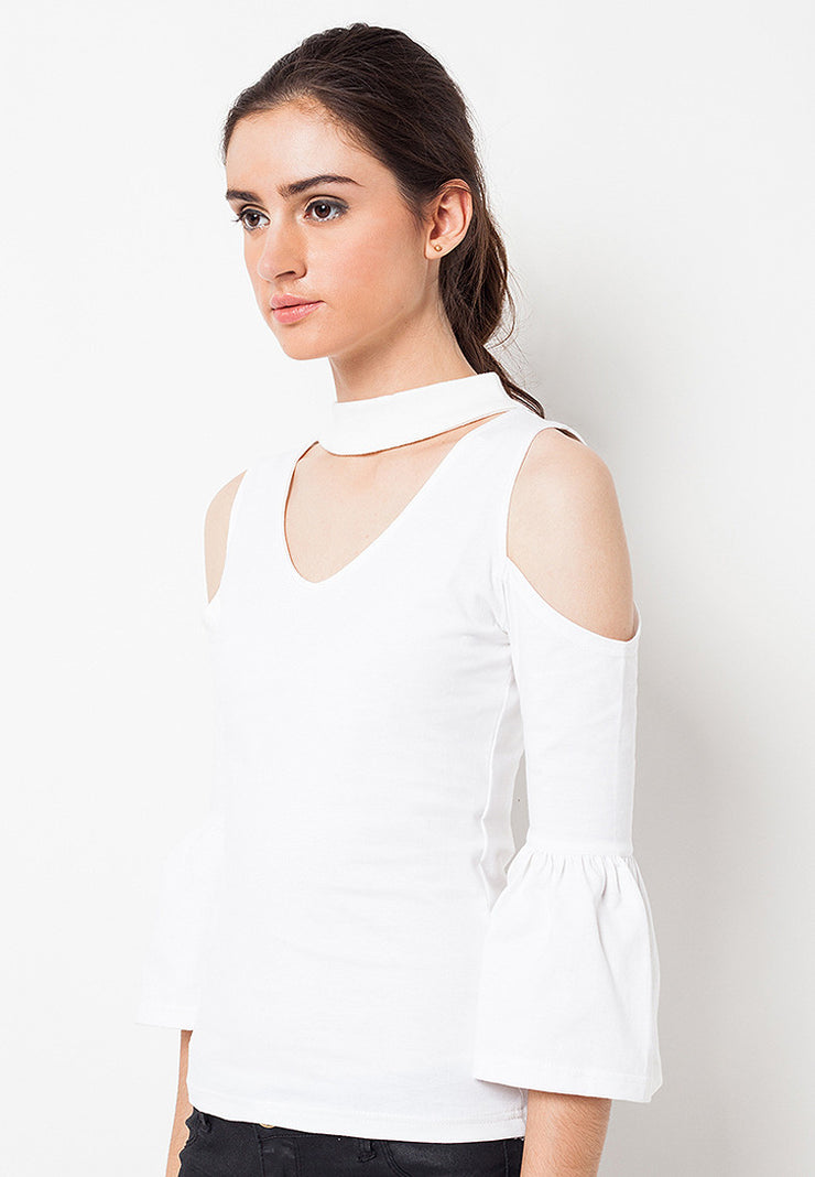 Cold Shoulder Choker Tee White