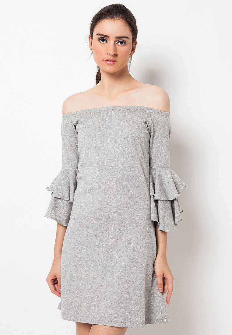 Sabrina Dress with Double Bell Grey