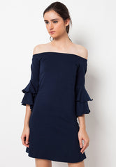Sabrina Dress with Double Bell Navy
