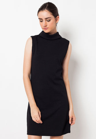 High Neck Basic Dress Black
