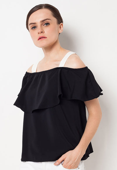 Contrast Layer Blouse - Black