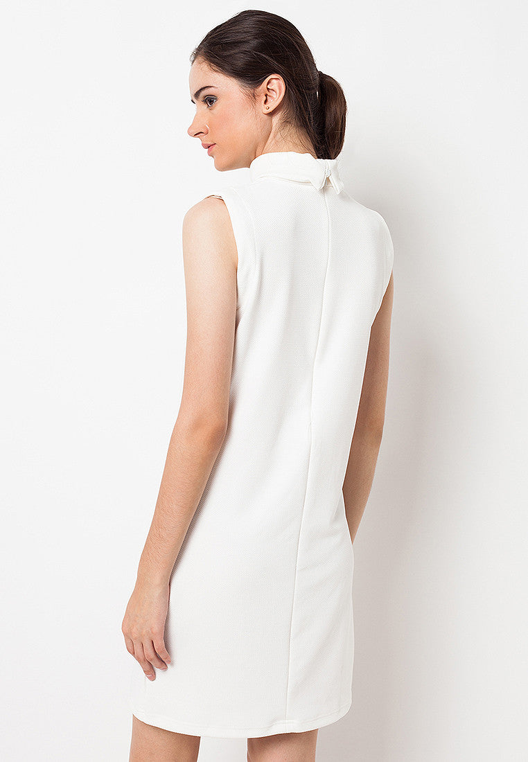 High Neck Basic Dress White