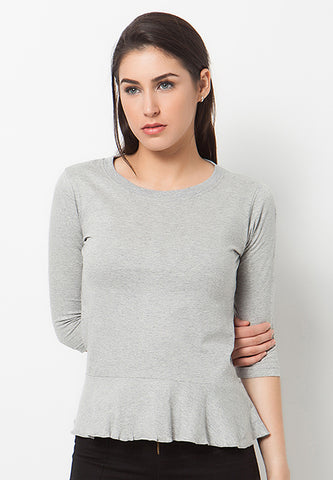 Frilled Peplum T-Shirt - Misty