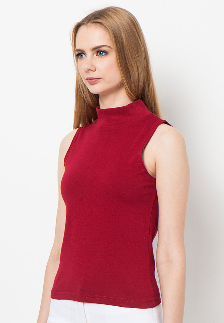 Turtle Neck Tank - Red