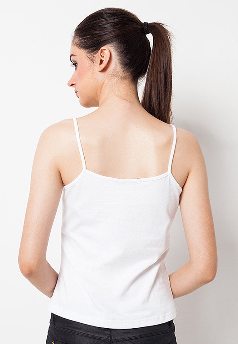 Lined Tank Top White