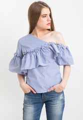 Half Off Shoulder with Frilled Detail
