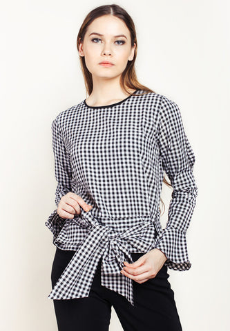 Bell Sleeves Plaid Top With Ribbon