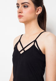Lined Tank Top Black