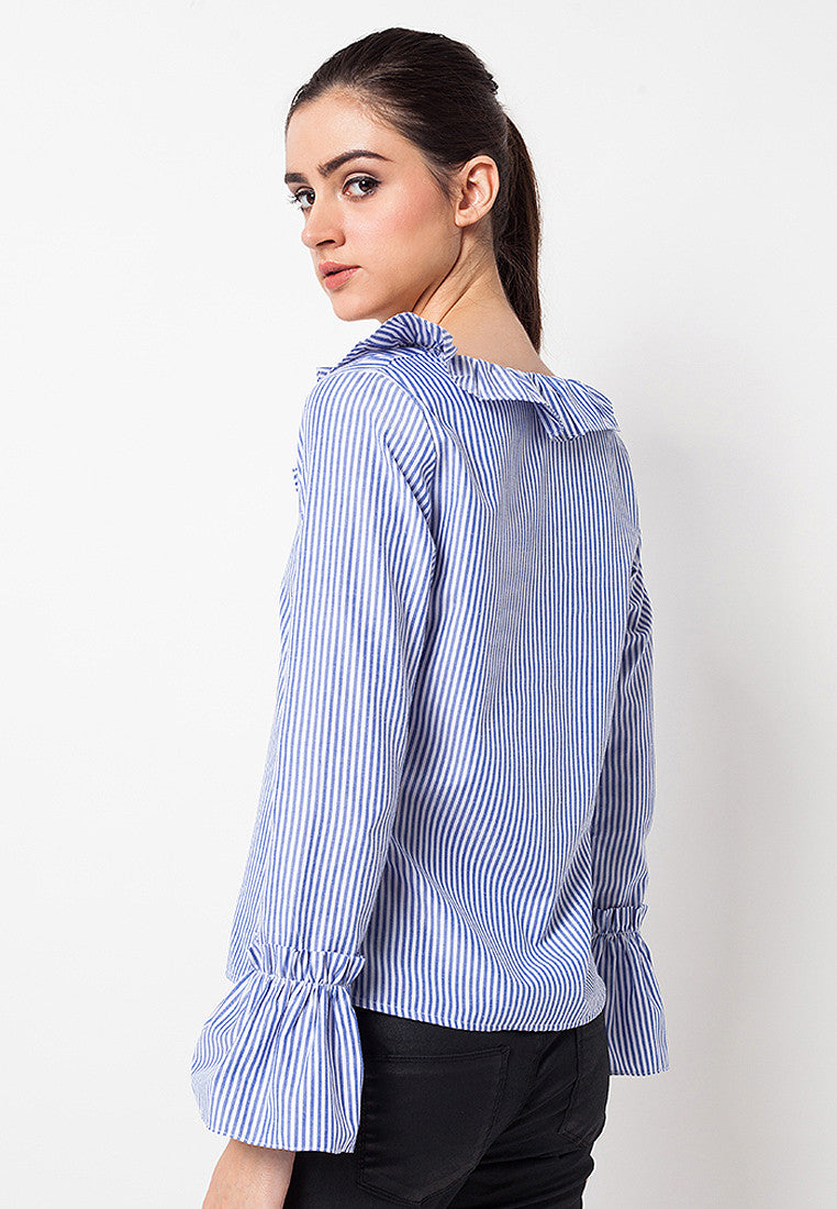 Frilled Striped Cotton Blue