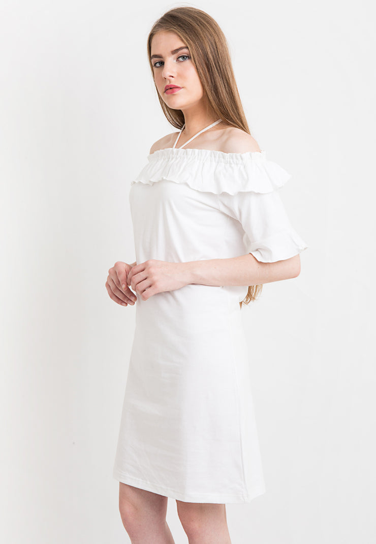 Off Shoulder with Frill Dress - White