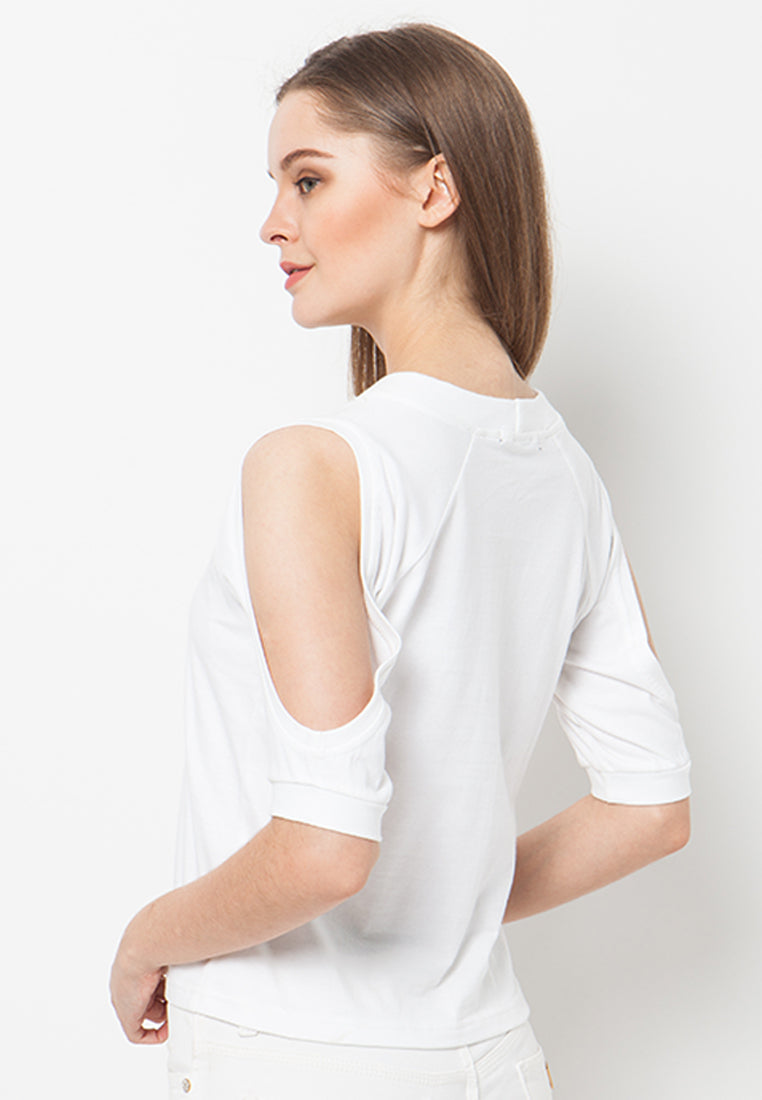 Cover.9 - Cold Shoulder Tee White