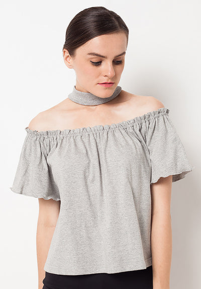 Loose Off Shoulder Choker Top - Misty
