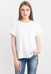 Oversized Tee With Pocket - White