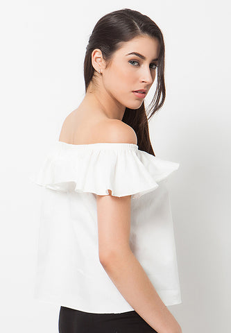 Frilled Sabrina Top White