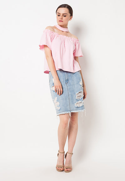 Loose Off Shoulder Choker Top - Baby Pink