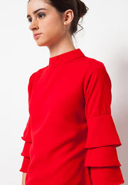 Triple Bell Sleeve Top Red