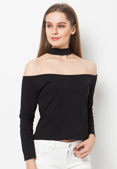 Sabrina Choker Top - Black