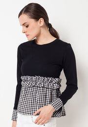 T-shirt with Frill Combination - Black