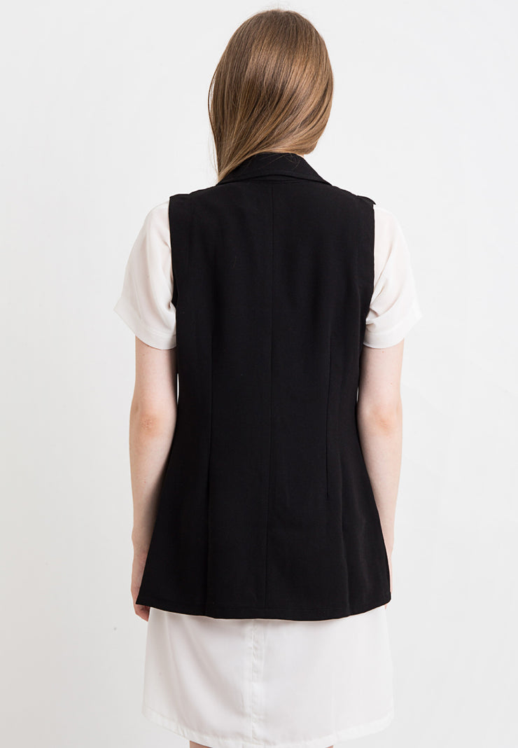 Vest With Collar - Black