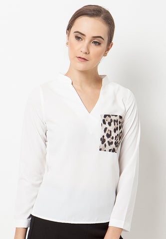 Animal Print Top - White
