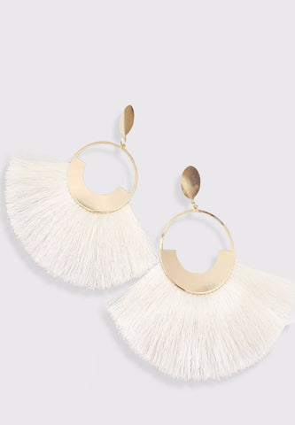 Bohemian Tassel Earrings - White