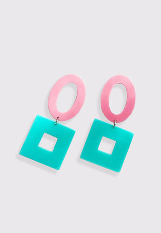 Geometric Hollow Earrings - Green