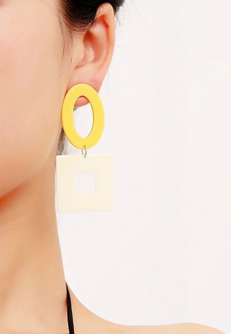 Geometric Hollow Earrings - Yellow