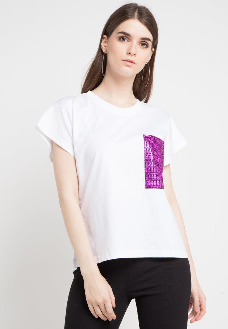 Oversized Tee with Gold Metalic Pocket - White Violet