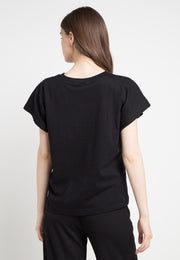 Oversized Tee with Metalic Pocket - Black Gold