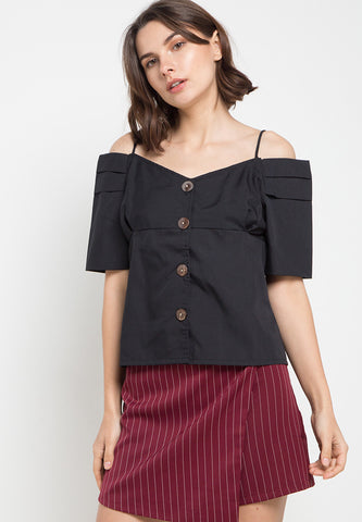 Off Shoulder With Button - Black