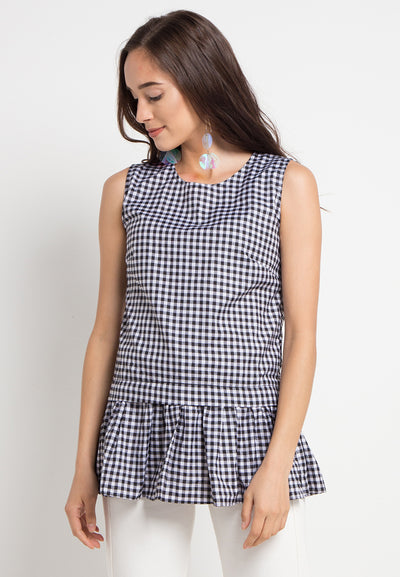 Gingham Peplum Top - Black