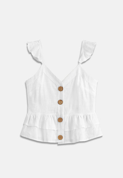 Sleeveless Button Shirt - White