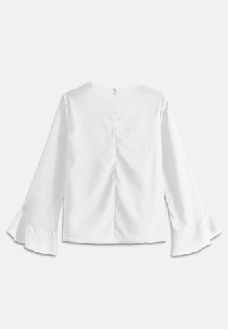Bell Sleeve Basic Blouse - White