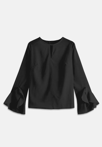Bell Sleeve Basic Blouse - Black