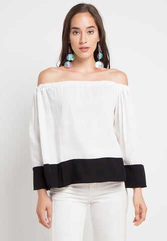 Contrast Sabrina Top - White