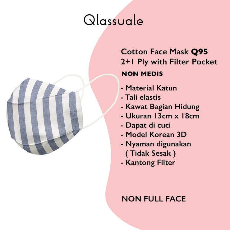 Cotton Face Mask With Filter Pocket - Earloop - Grand Stripe