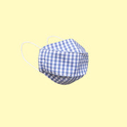 Cotton Face Mask With Filter Pocket - Kids - Blue GINGHAM