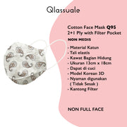 Cotton Face Mask With Filter Pocket - Paisley - Earth
