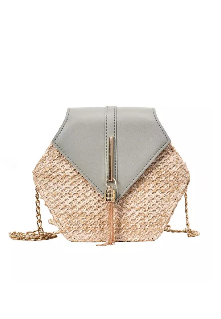 Rattan Mini Bag - Grey